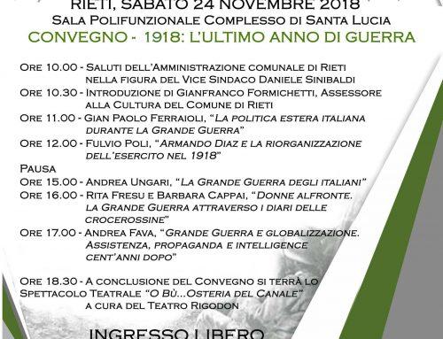 SABATO 24 NOVEMBRE ORE 10.00 SALA POLIFUNZIONALE DEL POLO DI SANTA LUCIA – CONVEGNO FINALE DEL SIMBAS – 1918: L'ULTIMO ANNO DI GUERRA