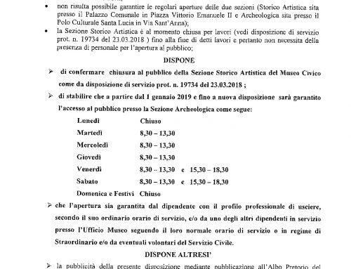 ORARI DI APERTURA DEL MUSEO CIVICO – DISPOSIZIONE DI SERVIZIO DEL 17/12/2018