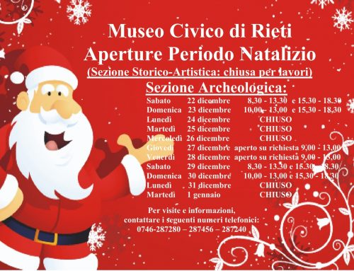ORARIO DI NATALE SEZIONE ARCHEOLOGICA DEL MUSEO CIVICO