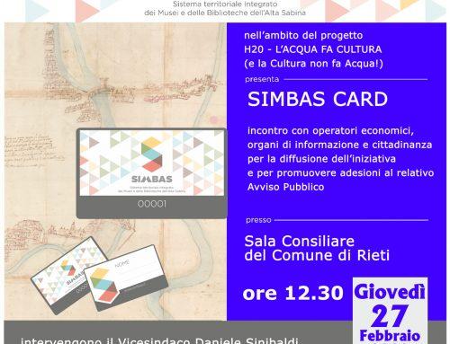 ADESIONE A SIMBAS CARD – DISPONIBILI ON-LINE AVVISO PUBBLICO E MODULI DA COMPILARE